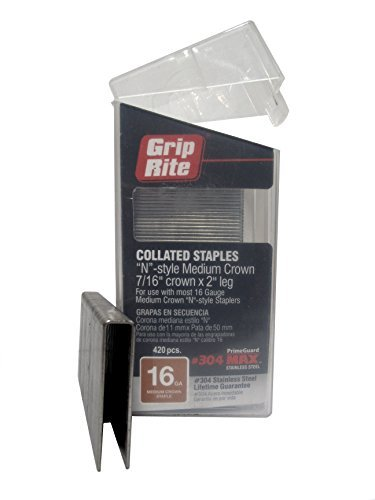 Grip Rite Prime Guard MAXB64892 16-Gauge 7/16 Medium Crown by 2 304-Stainless Steel Staples in Belt Clip Box (Pack of 420) by Grip Rite Prime Guard - Medium Crown Staples