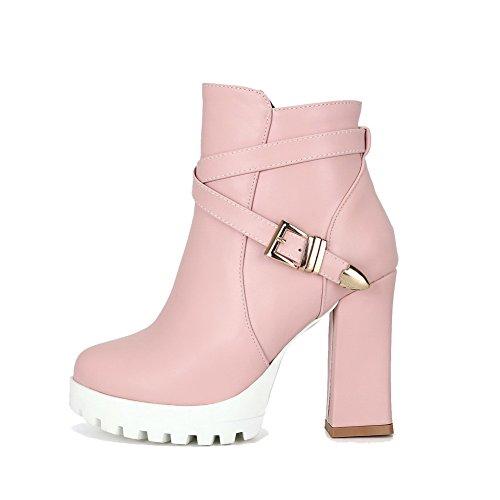 VogueZone009 Damen Reißverschluss Rund Zehe Hoher Absatz Knöchel Hohe Stiefel mit Schnalle Pink