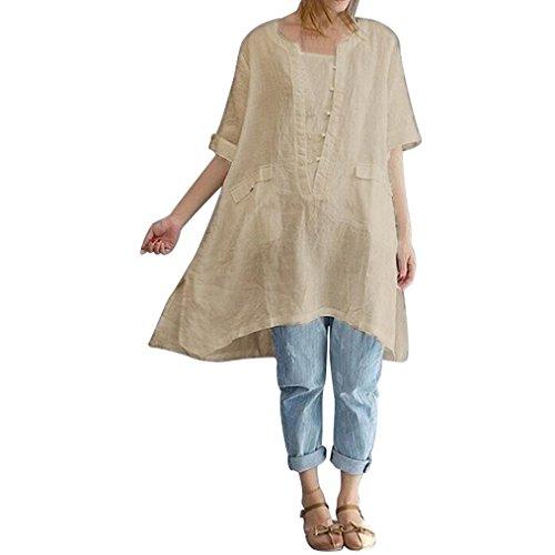 MCYs Frauen Plus Size Große Größe Unregelmäßige Mode Lose Leinen Kurzarm Shirt Vintage Bluse Hemd Tops Bluse Oberteile (2XL, Beige)