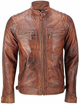Leatherly Chaqueta de hombre Cafe Racer Quilted Vendimia Distressed chaqueta de cuero marrón