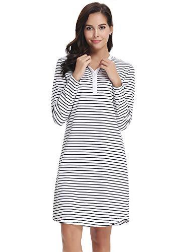 Aibrou donna pigiama vestito camicia da notte invernale a strisce con bottoni maniche lunghe pigiama camicia da notte morbido in cotone