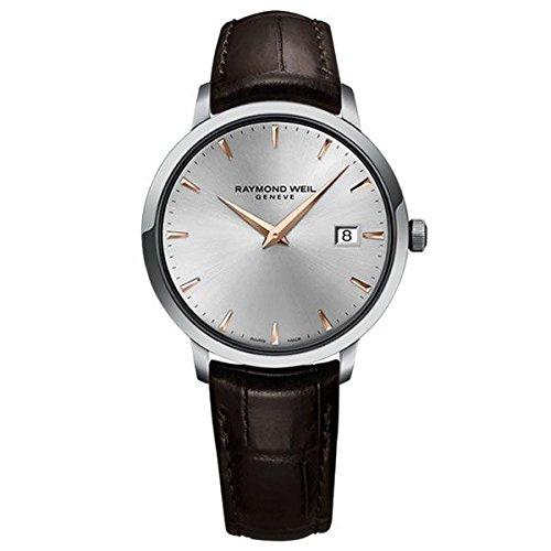 Raymond Weil Herren Analog Quarz Uhr mit Leder Armband 5488-SL5-65001