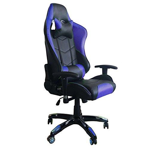MCTECH® Racing Sportsitz Gaming Stuhl Bürostuhl Schreibtischstuhl, PU Leder Kunstleder Chefsessel, Drehstuhl mit Armlehnen, Ergonomisch Wippfunktion und Höhenverstellbar (Schwarz-blau)