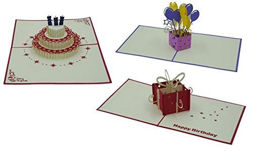 - 3 Stück (Motive: Torte & Geschenk & Luftballons) - Pop Up Karten - handgefertigt - inclusive Umschlag und Schutzhülle - Grußkarte, Glückwunschkarte, Geschenk-Karte ()