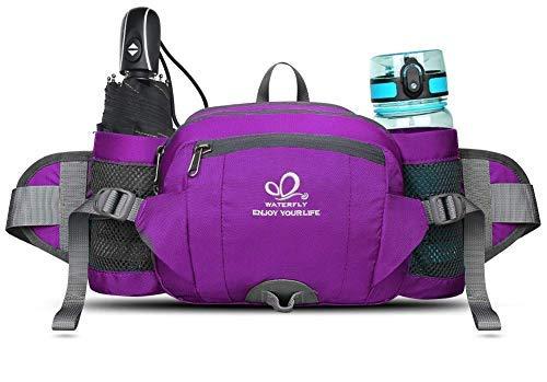 WATERFLY Gürteltasche Damen Bauchtasche Wasserdicht Outdoor Sport Hüfttasche mit Getränkehalter für Camping Ausflug Jogging Wandern Klettern Radfahren Trekking