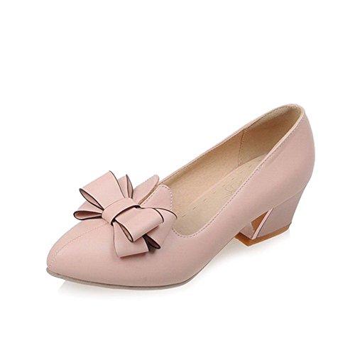 AllhqFashion Femme à Talon Correct Pointu Tire Pu Cuir Couleur Unie Chaussures Légeres Rose