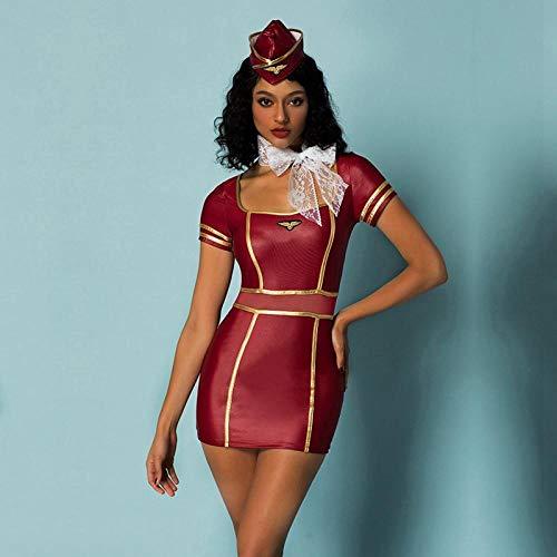 Kostüm Hots Red - xbowo-Appeal Erotische Dessous Cosplay Sexy Stewardess Kostüm Frauen Rose Red Latex Kostüm Hot Erotic Stewardess Kellnerin Kostüme Für Halloween Cosplay Party @ Rose Red One Size