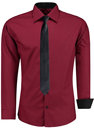 JEEL Herren Hemd Business Hochzeit Freizeit Slim Fit Übergrößen + Krawatte S-6XL Bordeaux Rot