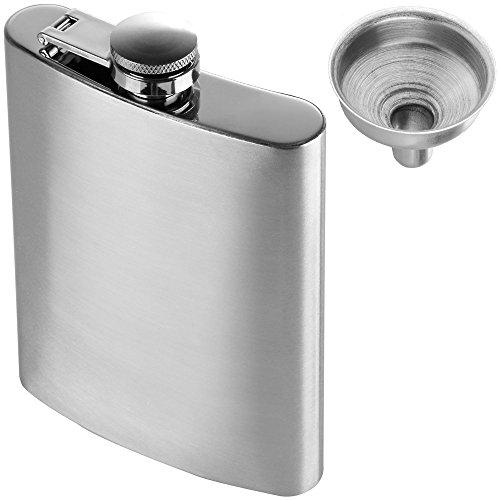 Anpro Edelstahl Flachmann und Trichter Set, 8 oz. 227ml, Silber, MEHRWEG - Alkohol 2 Unzen Flüssigkeit