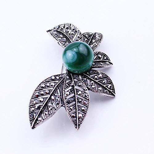 ZWLZQ Broschen Brosche Baum Blatt Nadel Sicherheitsnadeln Naturstein Grün Perlen Broches Für Frauen Modeschmuck, Antik Silber Überzogen