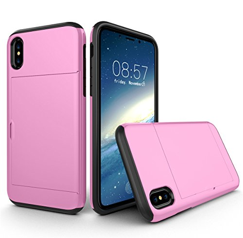 CaseforYou Hülle iphone X Schutz Gehäuse Hülse Shockproof Full-Body Hybrid Combo Snap-On Case Cover Protector with Card Holder Schutzhülle für iphone X Handy (Green) Pink
