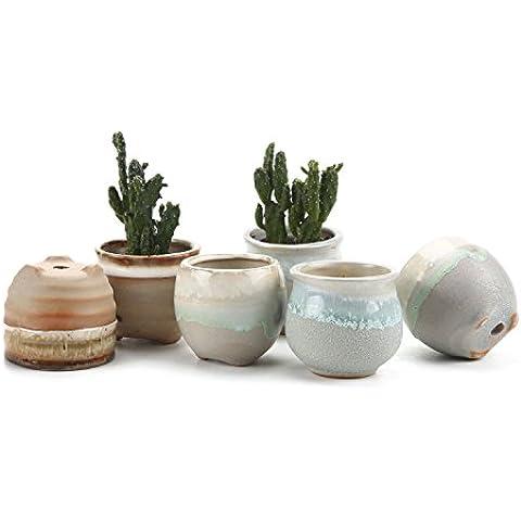 T4U 6,5 cm in ceramica smaltata Sucuulent fluida-Vaso per piante, con vaso per fiori, a forma di Cactus, Contenitore per alimenti, colore: nero, Ceramica, No.8, small