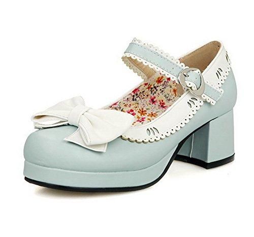 VogueZone009 Damen Rund Zehe Mittler Absatz Schnalle Gemischte Farbe Pumps Schuhe Blau
