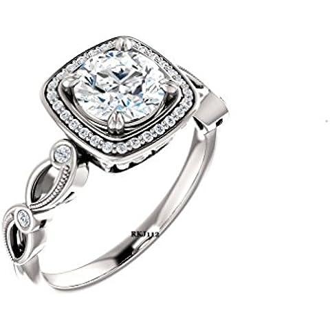 Brilliant D/VVS 1,74ct, taglio a diamante, oro bianco 14 k di fidanzamento Vintage-Anello da donna, tutte le misure disponibili