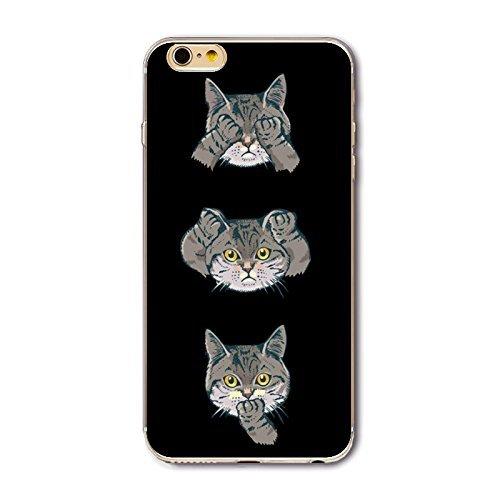 Coque iPhone 7 Housse étui-Case Transparent Liquid Crystal en TPU Silicone Clair,Protection Ultra Mince Premium,Coque Prime pour iPhone 7 (2016)-Géométrique Chats