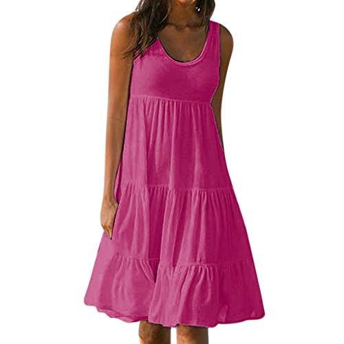 Sommerkleid Strandkleid Lässige Ärmellos Rundkragen Strandkleid Kleider MiniKleid Blusenkleider Ballkleid Festkleid Wickelkleider Abendkleider Partykleid(Hot Pink,EU-40/CN-XL) ()