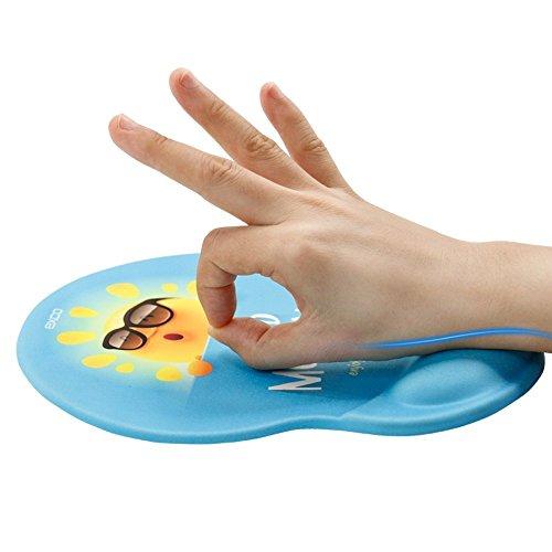 Exco Ergonomische Maus-Pad, schwarz, mit weicher Komfort-Handgelenkstütze aus Silikongel, rutschfester PU-Boden, Handgelenk-Pad mit glatter Oberfläche –Perfekt für Computer und Laptops, für Jungen und Mädchen cute Sun gel wrist support mouse pad