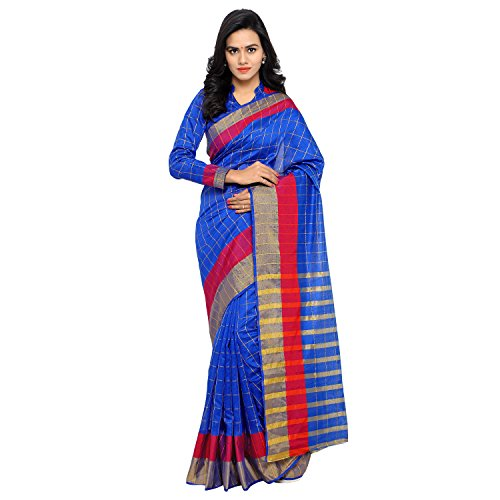 Sarvagny Clothing Women's Blue Chanderi & Poly Silk Kanjivaram Saree with Blouse Piece  available at amazon for Rs.399