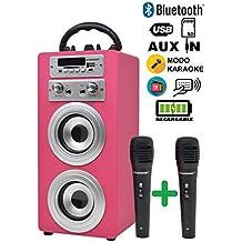 DYNASONIC Altavoz Bluetooth con Karaoke 2 micrófonos Radio y Lector USB SD (Color ...