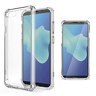 Moozy Transparent Silikon Hülle für Huawei Y5 2018 / Y5 Prime 2018 - Stoßfest Klar TPU Case Handyhülle Schutzhülle