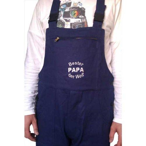 Latzhose Bester Papa auf der Welt das Geschenk für Papi (52, Kornblau)