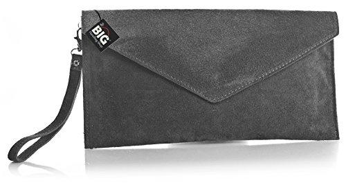 Big Handbag Shop, Borsetta da polso donna One Grigio (grigio)