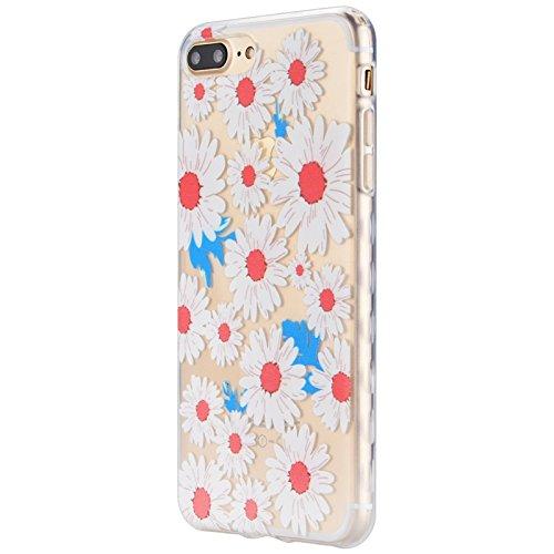 iPhone 7 Hülle, Yokata Transparent Weich TPU Soft Case mit Welle Anti-Slip Silikon Bumper Crystal Klar Schutzhülle Durchsichtig Dünne Case Cover + 1 X Stylus Pen - Zitrone Gänseblümchen