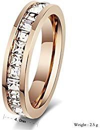 K Mega Jewelry Stainless Steel Ring, Vintage, Rose Gold, Crystal, KR2057