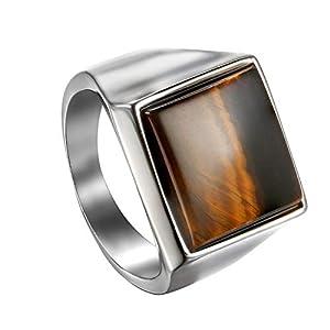 OIDEA Edelstahl Ringe Silber für Herren Damen, Klassiker Retro Charm Tigerauge Stein Herrenring Edelstahlring Bandring Ringgrößen 54 (17.2) – 65 (20.7)
