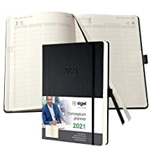 SIGEL C2104 Agenda civil 2021 Conceptum, couverture rigide, 14,8 x 21,3 cm, vertical, noir