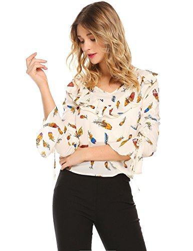 Coofandy Damen Chiffon Bluse V-Ausschnitt Elegant Blumen Flare Hülse Langarm Chiffonshirt in 4 Muster Muster 2