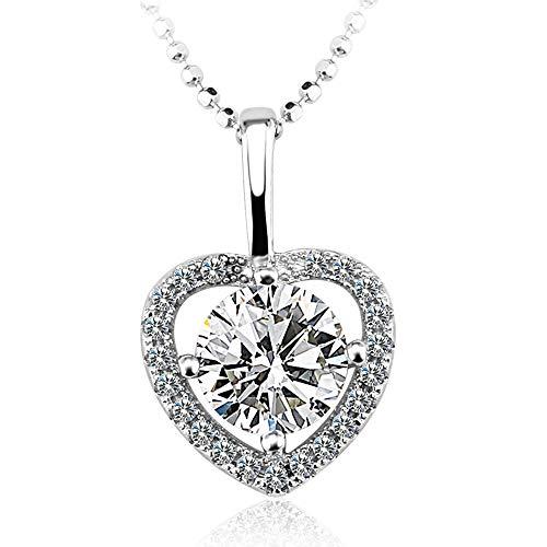 ANGRIZIJUN 925 Sterling Silber Herz Halskette Für Frauen Crystal Gem Kubikzircon Anhänger Schmuck Kette, Geeignet Für Jeden Moment des Besonderen Geschenks - Diamant-logo-t-shirt