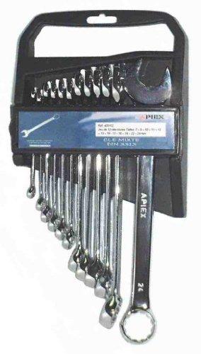 Apiex - Jeu De Clés Mixtes - 8, 10, 11, 13, 16, 17, 18, 19, 22, 24mm 12 Pces Sur Support Plastique