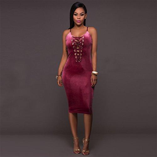 Frauen reizvolle Backless Sleeveless Verband Kreuz Paket-Hüfte-Midi-Kleid Clubwear Kleid Rouge
