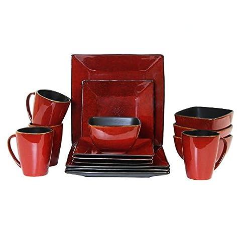 Elama 16 Piece Modern Premium Stoneware Set with Complete Setting for 4, Harland Loft
