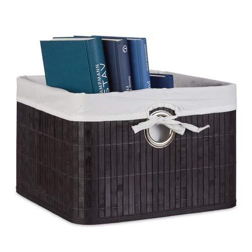 Relaxdays Aufbewahrungskorb Bambus H x B x T: ca. 20 x 31 x 31 cm Regalkorb für Regal und Schrank mit abnehmbarem Stoffbezug als dekorative Aufbewahrungsbox mit Griff und Stauraum zum Falten, schwarz - Aufbewahrung Boxen Dekorative