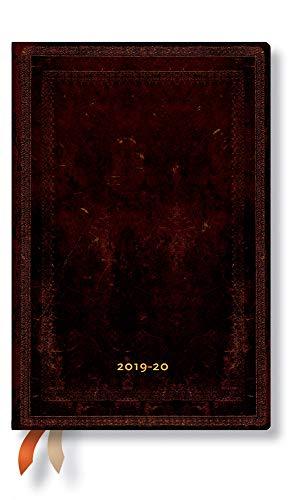 Paperblanks 18-Monats-Planer & Kalender | Juli 2019 - Dezember 2020 | Schwarzes Marokkoleder Schlicht | Woche für Woche (horizontal) | Mini (140 x 95 mm)