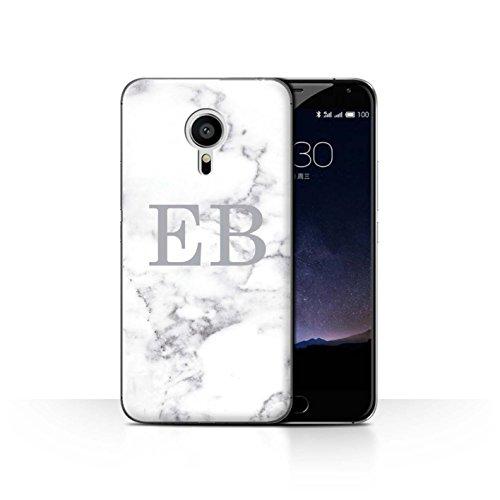 Personalisiert Weiß Marmor Mode Hülle für Meizu Pro 5 / Silberner Stempel Design/Initiale/Name/Text Schutzhülle/Case/Etui