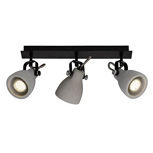 Spotbalken, 3-flammig, 3x GU10 max. 20W, Metall/Zement, schwarz matt/zement grau