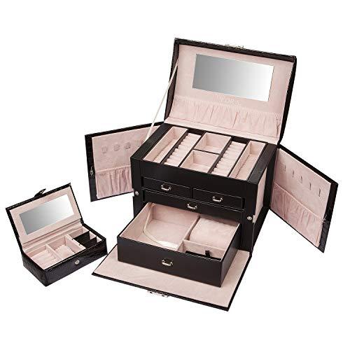 Yolora Schmuckkästchen, Schmuckkoffer mit Spiegel für Damen - Schwarz - Abschließbar (XXL) (Schmuck-box, Groß)