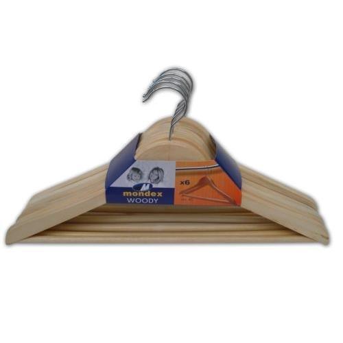 M-Home Lote de 6 Perchas Triangulares Barnizada con Barra, Madera, Natural, 44x4x22 cm