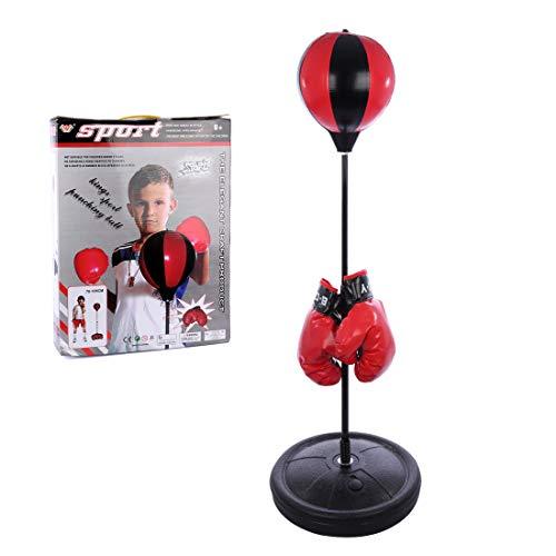 Spieland Boxsack Set Boxstand Punchingball Stehend Boxen Set mit Boxhandschuhen und Pumpe für Kinder ab 6 Jahre, Höhenverstellbar von 75 bis 105 cm