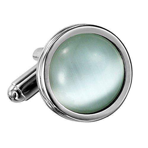 Urban Schmuck Atemberaubende Runde Blau Creme-Opal und Edelstahl Manschettenknöpfe für Männer (Silber) -