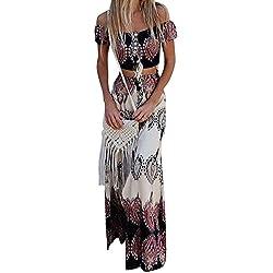 Vestido Boho Verano Mujer Conjunto de Falda para,Dos Piezas Conjunto de Falda para Arriba con botón Bowknot Holiday Beach Absolute S