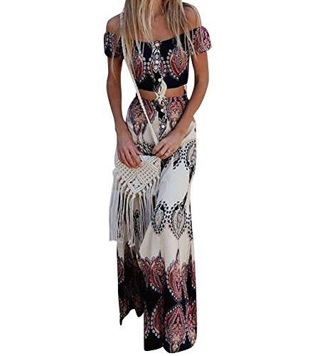 GUOCU Femme Robe Longue Ete Boheme Chic Robe de Plage Soirée Casual Imprimé Fleurie Mode FendueCol Bateau Épaules Dénudées M Aspicture