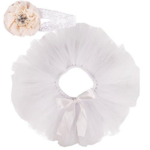 Free Fisher Baby Mädchen 2er Bekleidungsset (Rock Stirnband), Kostüm für Neugeborenes, Weiß, 3-4 Monate ( Herstellergröße: (Kind Kostüme M&m)