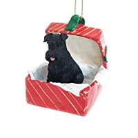 Eyedeal Figurines SCHNAUZER Dog Black Uncropped sits in a Red Gift Box Christmas Ornament New RGBD103A