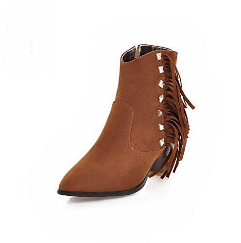 VogueZone009 Donna Bassa Altezza Puro Scarpe A Punta Tacco Medio Stivali con Rivetto Marrone