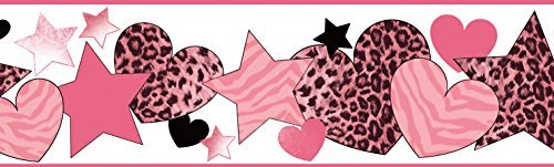 Chesapeake BBC94051B Diva Cheetah Hearts Stars Wallpaper Border, Pink by Chesapeake -