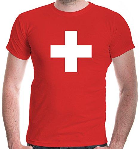 buXsbaum® Herren Unisex Kurzarm T-Shirt Bedruckt Schweizer Kreuz | Flagge Ländershirt Fanshirt | XL, Rot